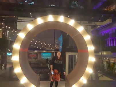 Karen in the Q Tunnel of Love.. Copyright Lloyd Marken.