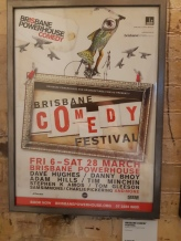Poster for the original Brisbane Comedy Festival as you can see in bottom right hand corner Scenestr have a long history with the festival. Copyright Lloyd Marken.