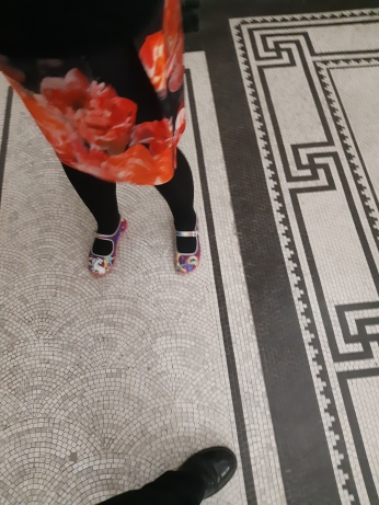 New unicorn shoes on the famous tiled floor of Brisbane City Hall. Copyright Lloyd Marken.