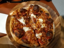 My beloved pepperoni pizza from bar menu. Simple but effective. Copyright Lloyd Marken.
