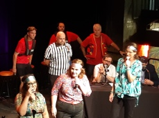 The performers on stage during Theatresports. Copyright Lloyd Marken.