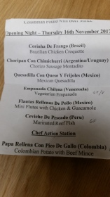 The delicious menu from SABA at the Cine Latino Film Festival Opening Night 2017.