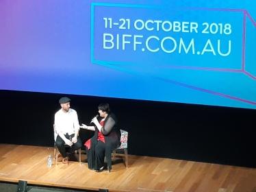 Director of 'Celeste' Ben Hackworth talking about his film with BIFF Artistic Director Amanda Slack-Smith. Copyright Lloyd Marken.