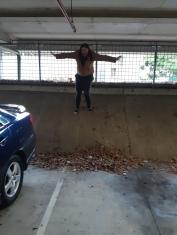 Karen scaling the heights in the carpark. Copyright Lloyd Marken.