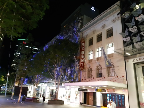 The old Regent Cinema facade in Queen Street mall. My city folks. Copyright Lloyd Marken.