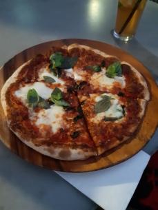 "Karen's ""basil"" pizza. Copyright Lloyd Marken."