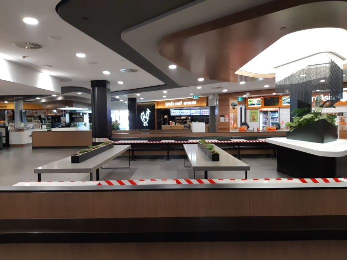 Food court at Toowong Village 20APR2020. Copyright Lloyd Marken.