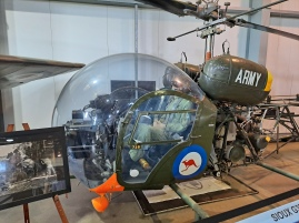 Sioux helicopters made famous in the film and TV series MASH that was set during the Korean War. This is indicative of the ones that served Australian forces in Vietnam. Copyright Lloyd Marken.