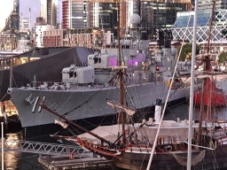 HMAS Vendetta. Brisbane has a frigate. Sydney has a destroyer. Both have a lighthouse ship. Copyright Lloyd Marken.